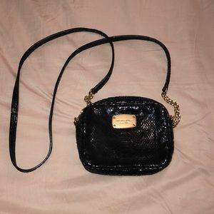 Michael Kors black faux snake crossbody